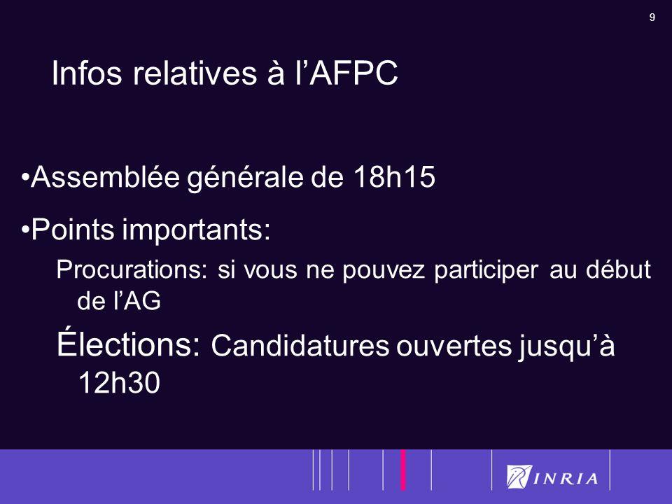 Infos relatives à l'AFPC
