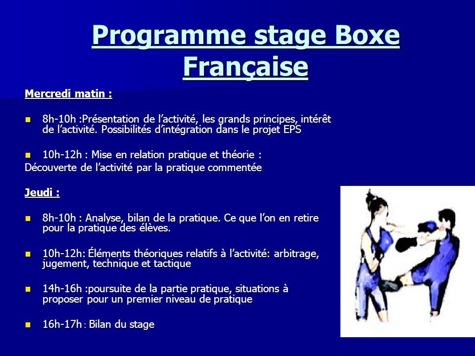 Programme stage Boxe Française