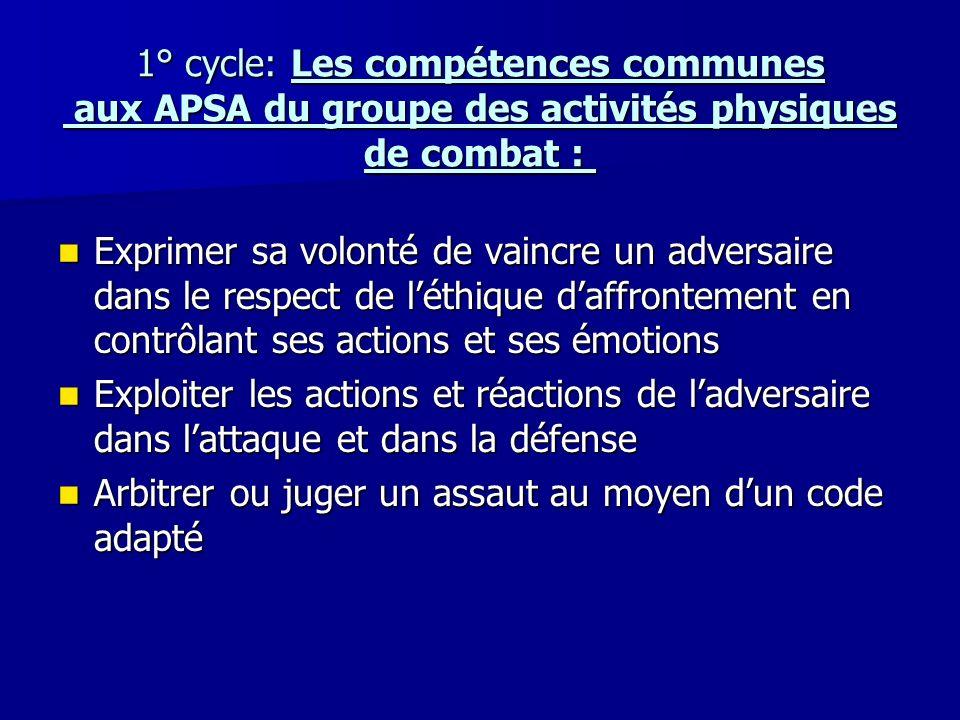 1° cycle: Les compétences communes aux APSA du groupe des activités physiques de combat :