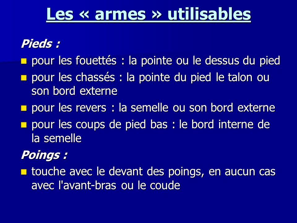 Les « armes » utilisables