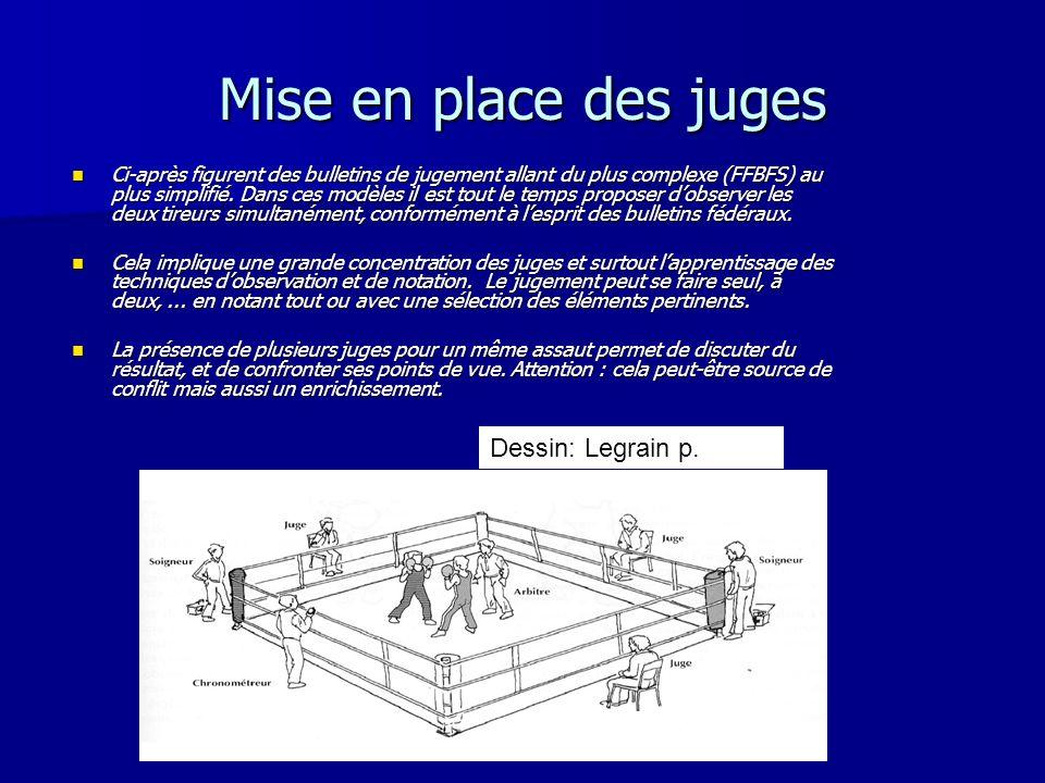 Mise en place des juges Dessin: Legrain p.