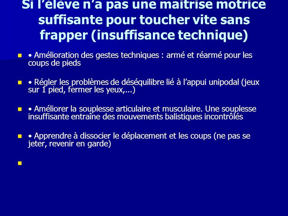 Si l'élève n'a pas une maitrise motrice suffisante pour toucher vite sans frapper (insuffisance technique)