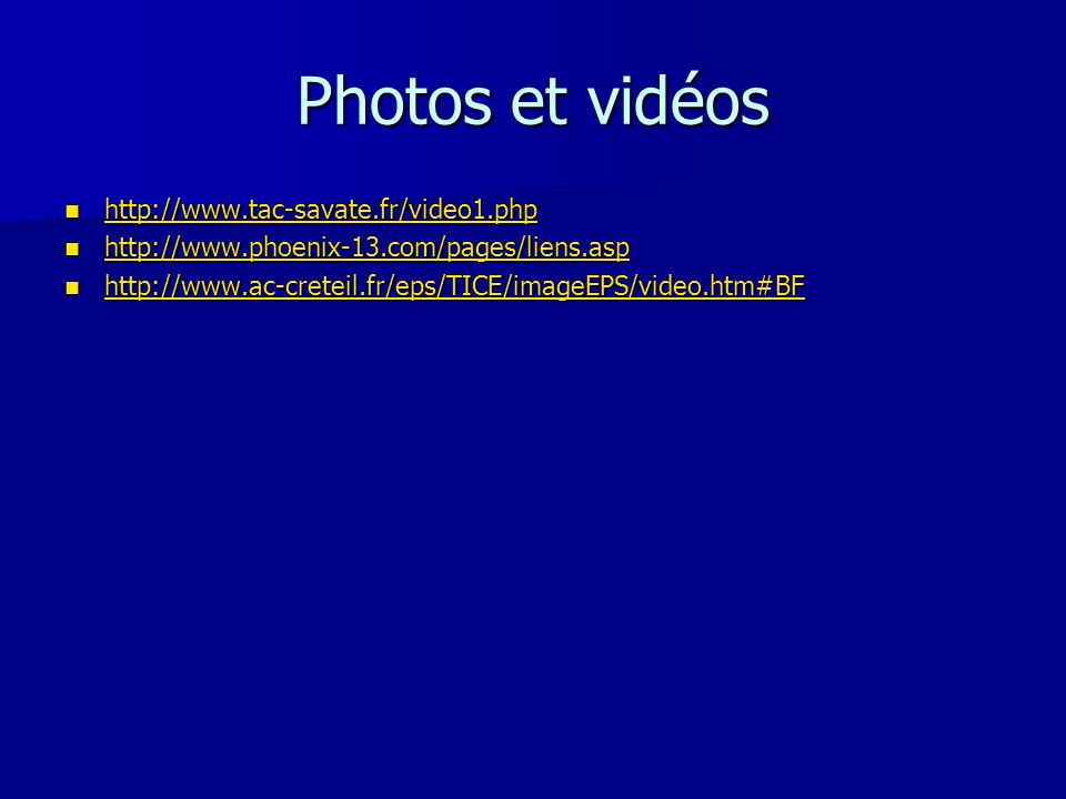 Photos et vidéos http://www.tac-savate.fr/video1.php