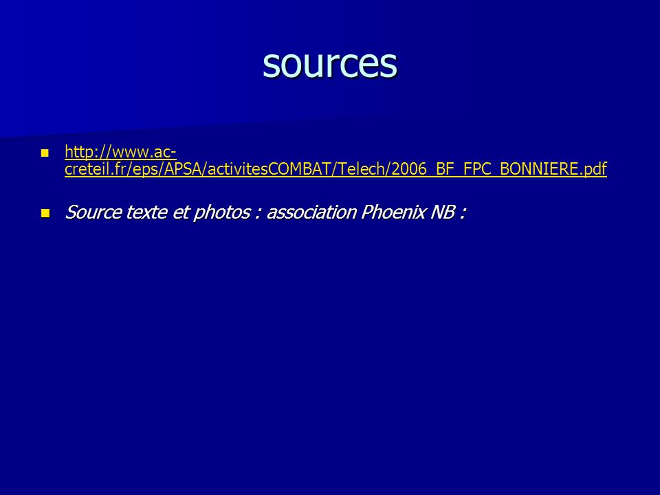 sources Source texte et photos : association Phoenix NB :