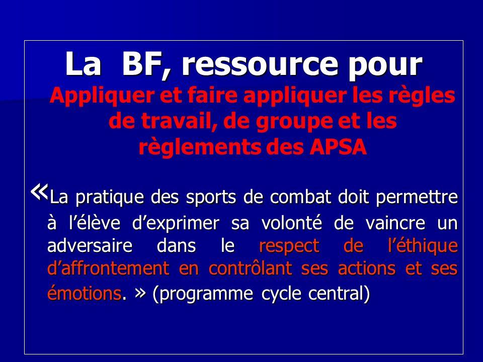 La BF, ressource pour Appliquer et faire appliquer les règles de travail, de groupe et les règlements des APSA