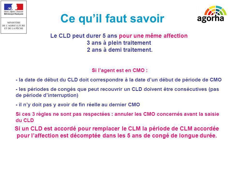 Ce qu'il faut savoir Le CLD peut durer 5 ans pour une même affection 3 ans à plein traitement 2 ans à demi traitement.