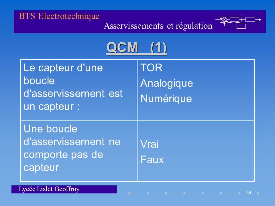 QCM (1) Le capteur d une boucle d asservissement est un capteur : TOR