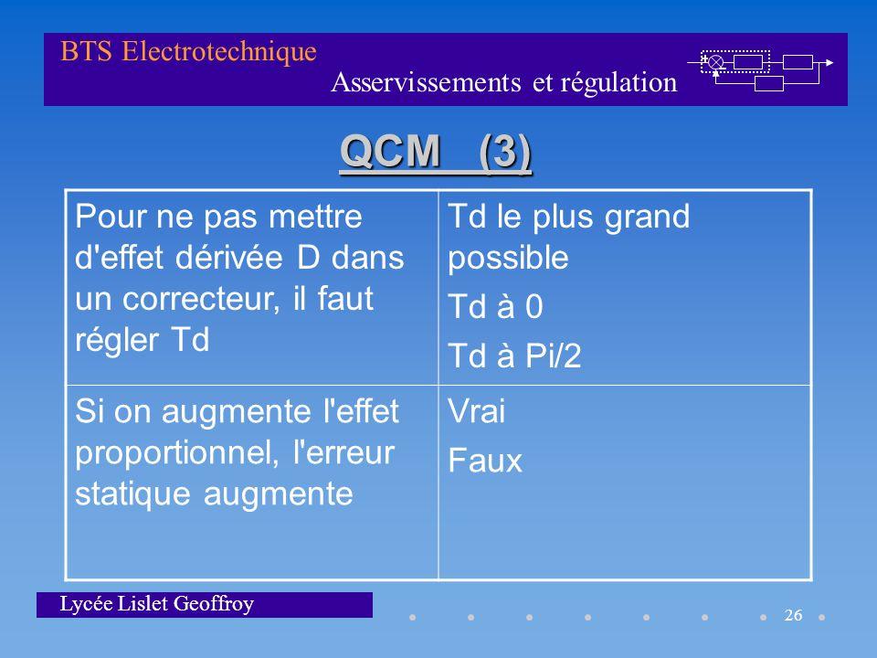 QCM (3) Pour ne pas mettre d effet dérivée D dans un correcteur, il faut régler Td. Td le plus grand possible.