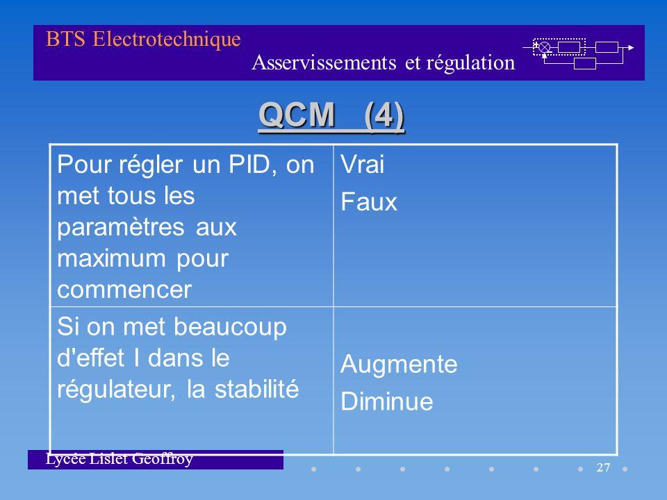 QCM (4) Pour régler un PID, on met tous les paramètres aux maximum pour commencer. Vrai. Faux.