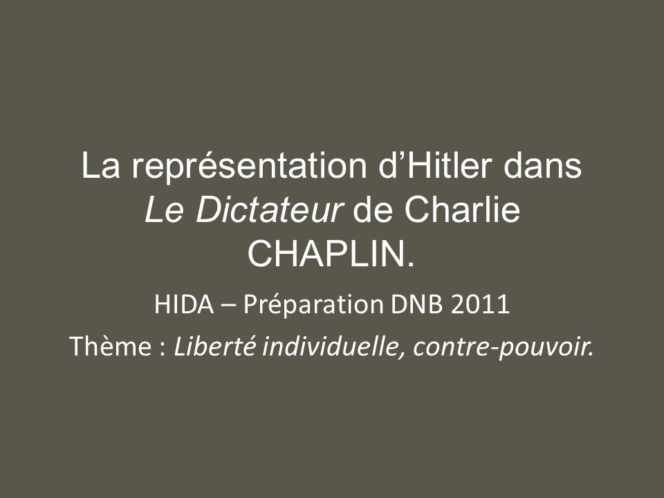 La représentation d'Hitler dans Le Dictateur de Charlie CHAPLIN.