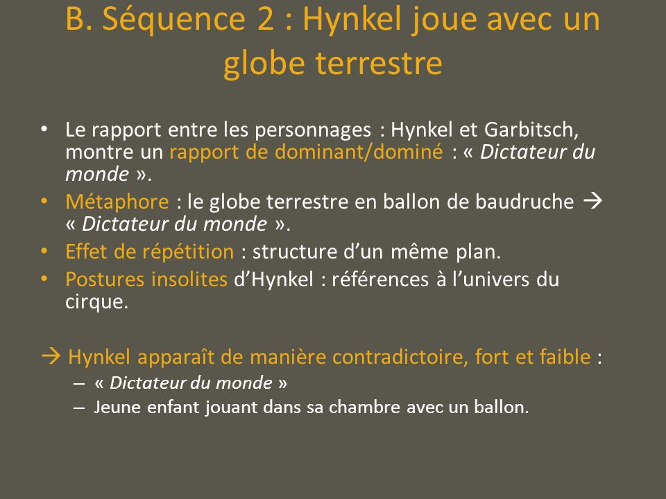 B. Séquence 2 : Hynkel joue avec un globe terrestre
