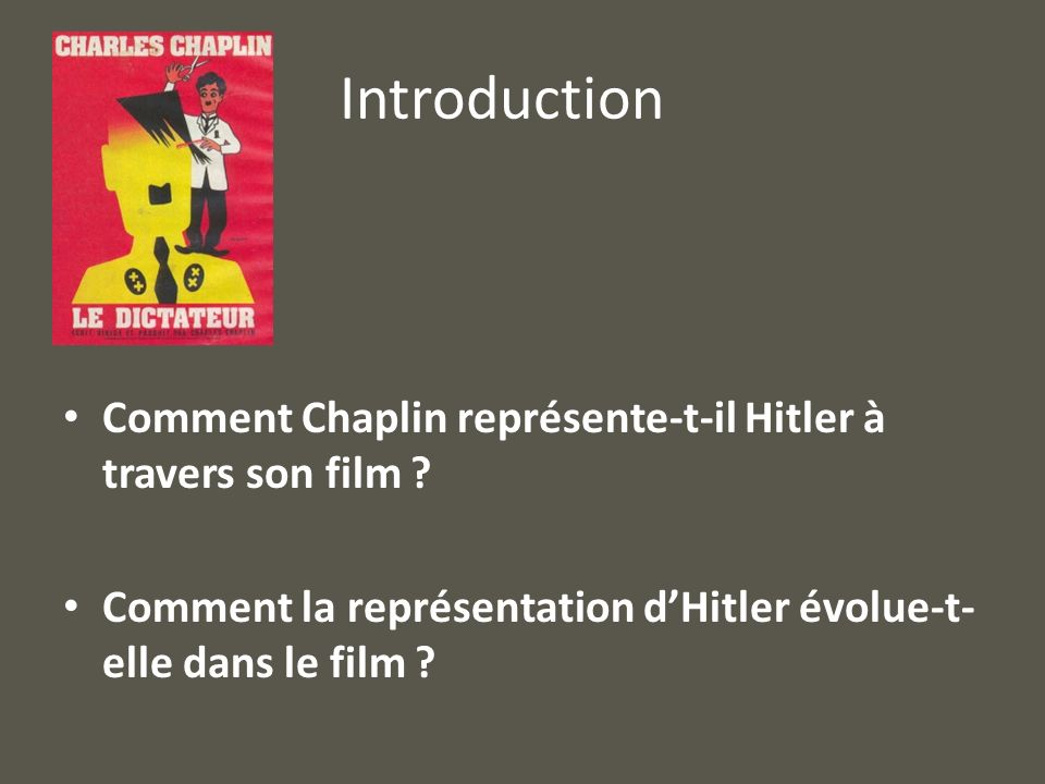 Introduction Comment Chaplin représente-t-il Hitler à travers son film .