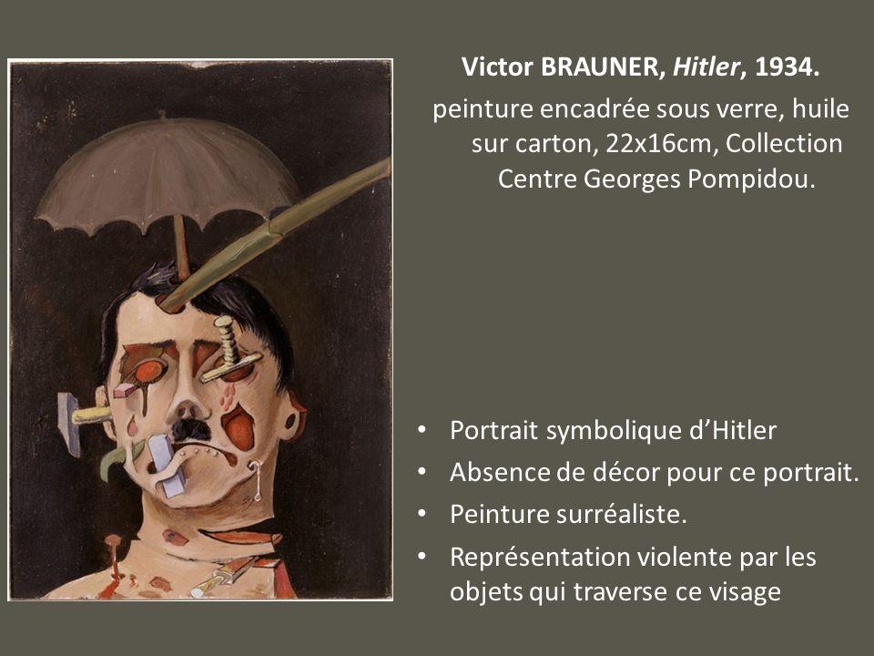 Victor BRAUNER, Hitler, 1934. peinture encadrée sous verre, huile sur carton, 22x16cm, Collection Centre Georges Pompidou.