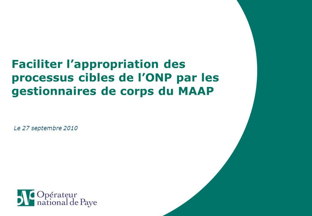 02 Septembre 2008 Faciliter l'appropriation des processus cibles de l'ONP par les gestionnaires de corps du MAAP.