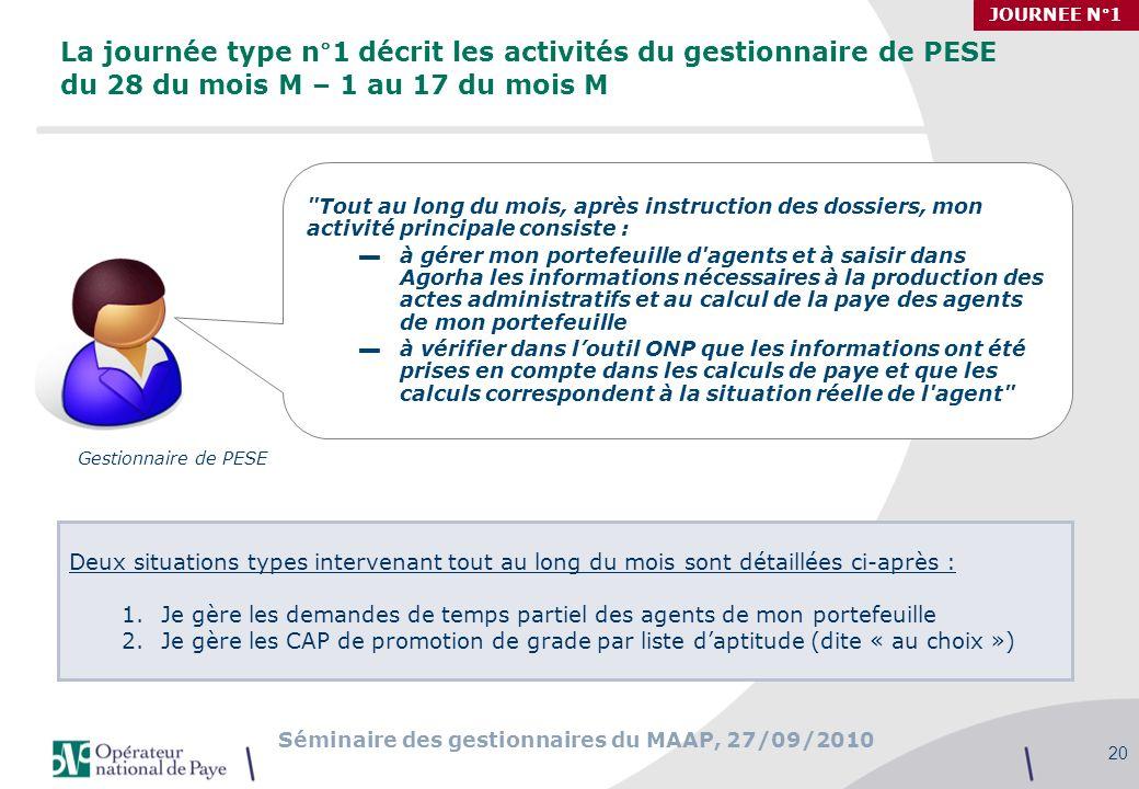 JOURNEE N°1 La journée type n°1 décrit les activités du gestionnaire de PESE du 28 du mois M – 1 au 17 du mois M.
