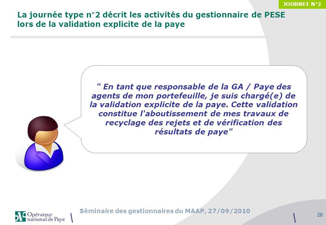 JOURNEE N°2 La journée type n°2 décrit les activités du gestionnaire de PESE lors de la validation explicite de la paye.