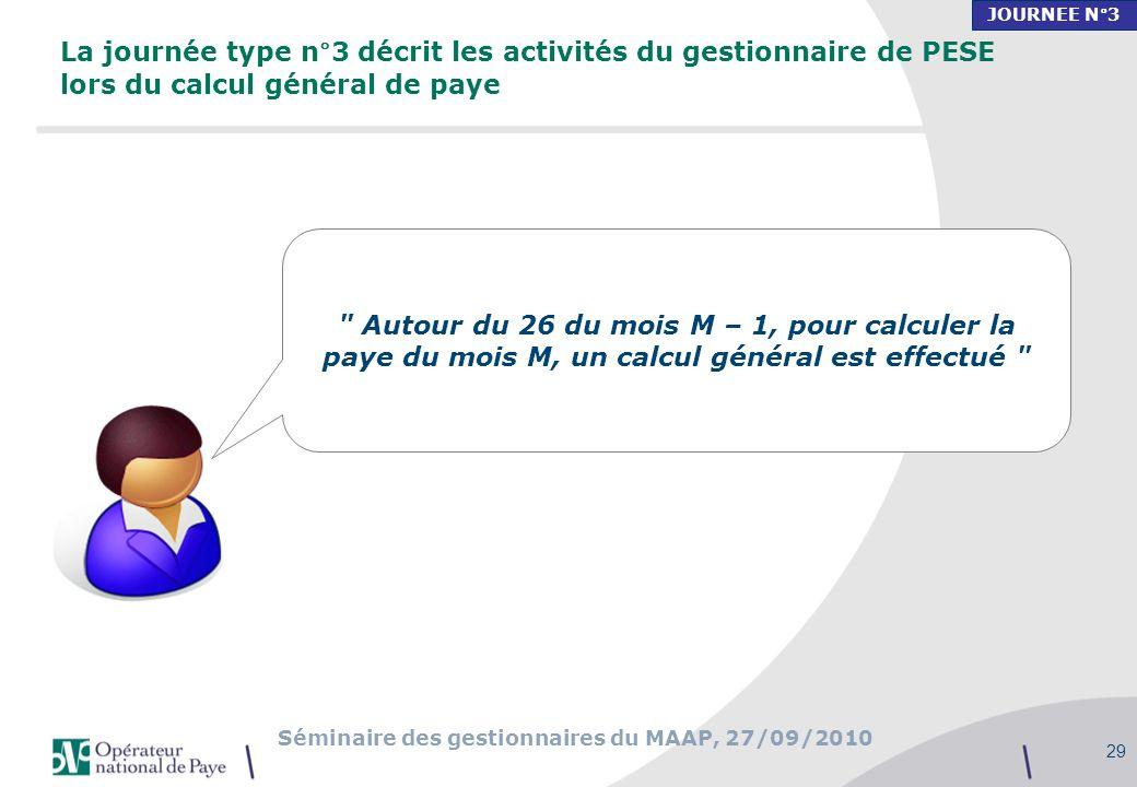 JOURNEE N°3 La journée type n°3 décrit les activités du gestionnaire de PESE lors du calcul général de paye.