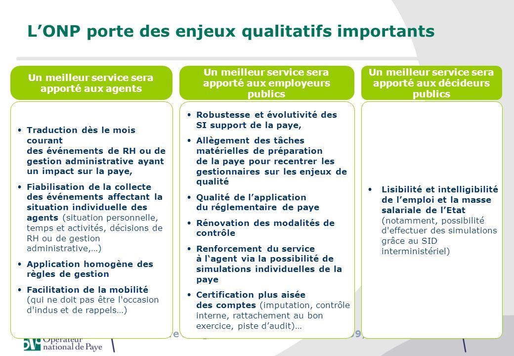 L'ONP porte des enjeux qualitatifs importants