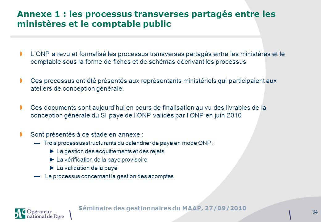 Annexe 1 : les processus transverses partagés entre les ministères et le comptable public