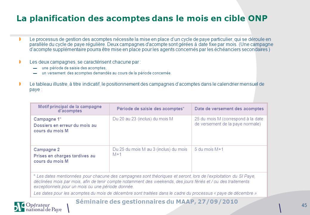 La planification des acomptes dans le mois en cible ONP