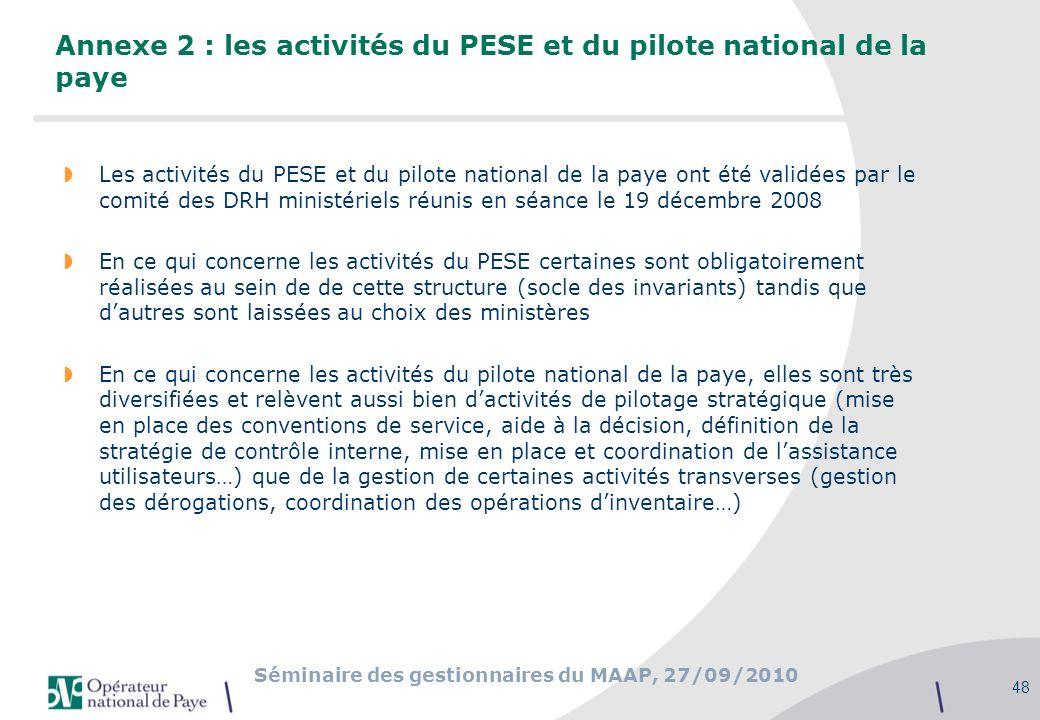Annexe 2 : les activités du PESE et du pilote national de la paye