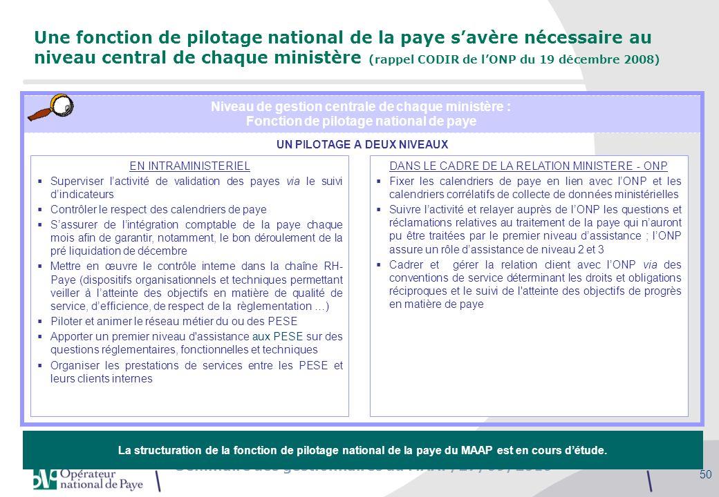 Une fonction de pilotage national de la paye s'avère nécessaire au niveau central de chaque ministère (rappel CODIR de l'ONP du 19 décembre 2008)