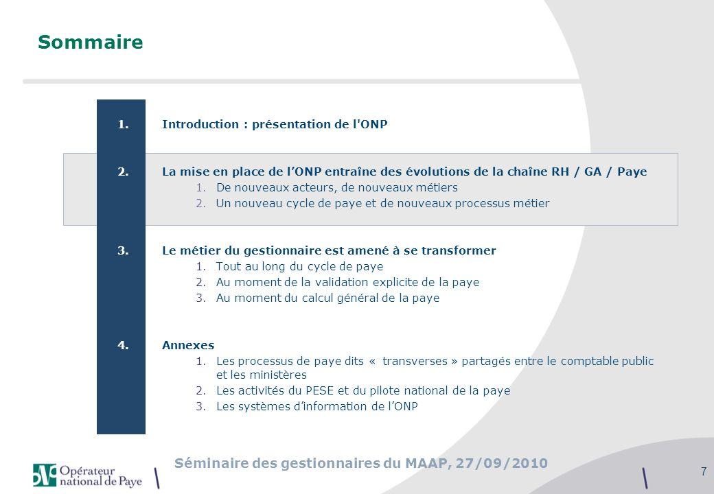 Sommaire Introduction : présentation de l ONP