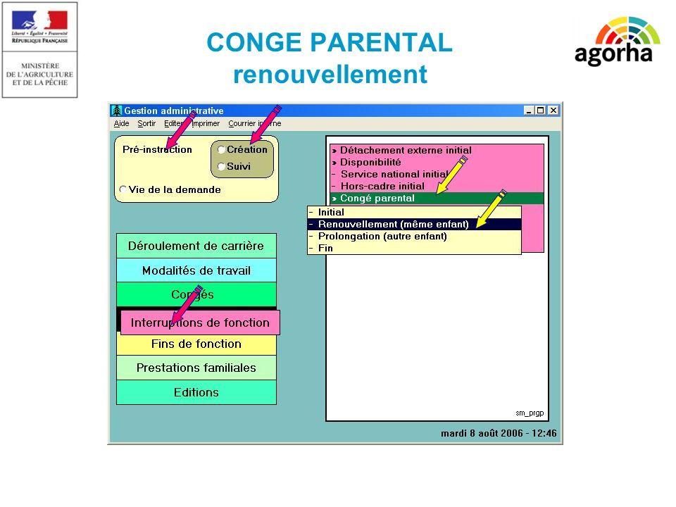 CONGE PARENTAL renouvellement