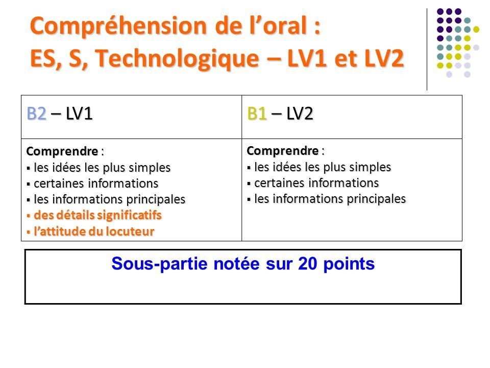 Compréhension de l'oral : ES, S, Technologique – LV1 et LV2