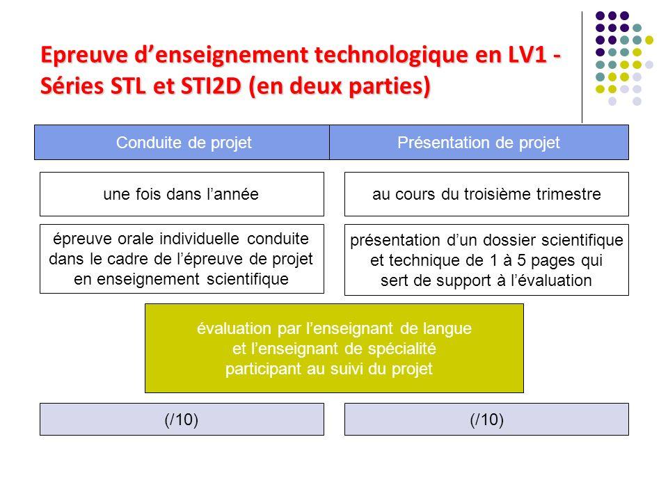 Epreuve d'enseignement technologique en LV1 - Séries STL et STI2D (en deux parties)