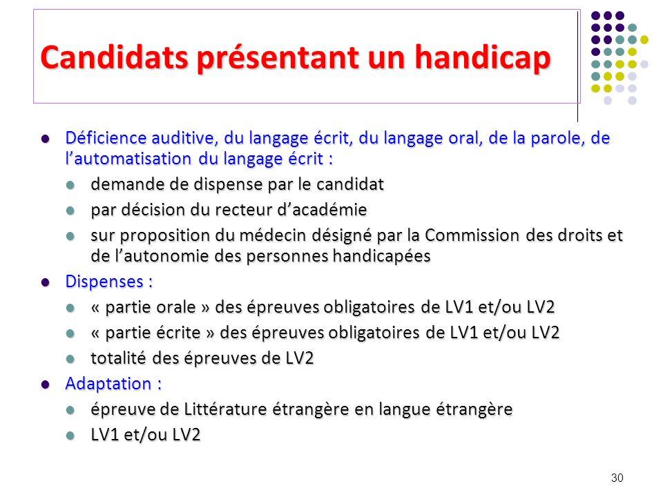 Candidats présentant un handicap