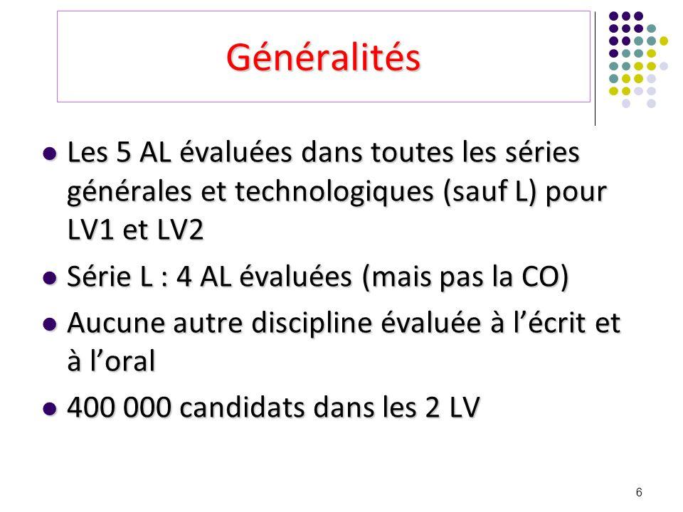 Généralités Les 5 AL évaluées dans toutes les séries générales et technologiques (sauf L) pour LV1 et LV2.