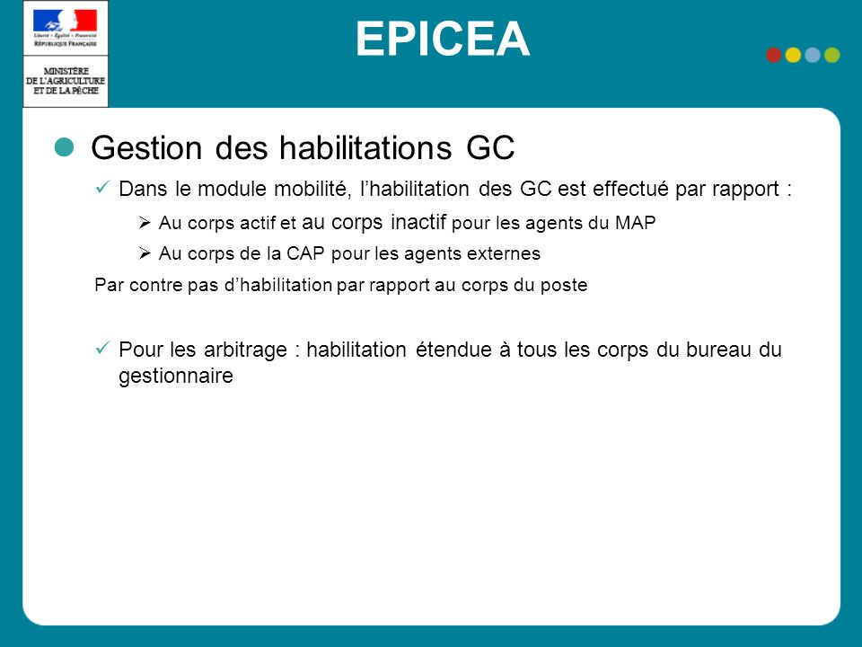 EPICEA Gestion des habilitations GC