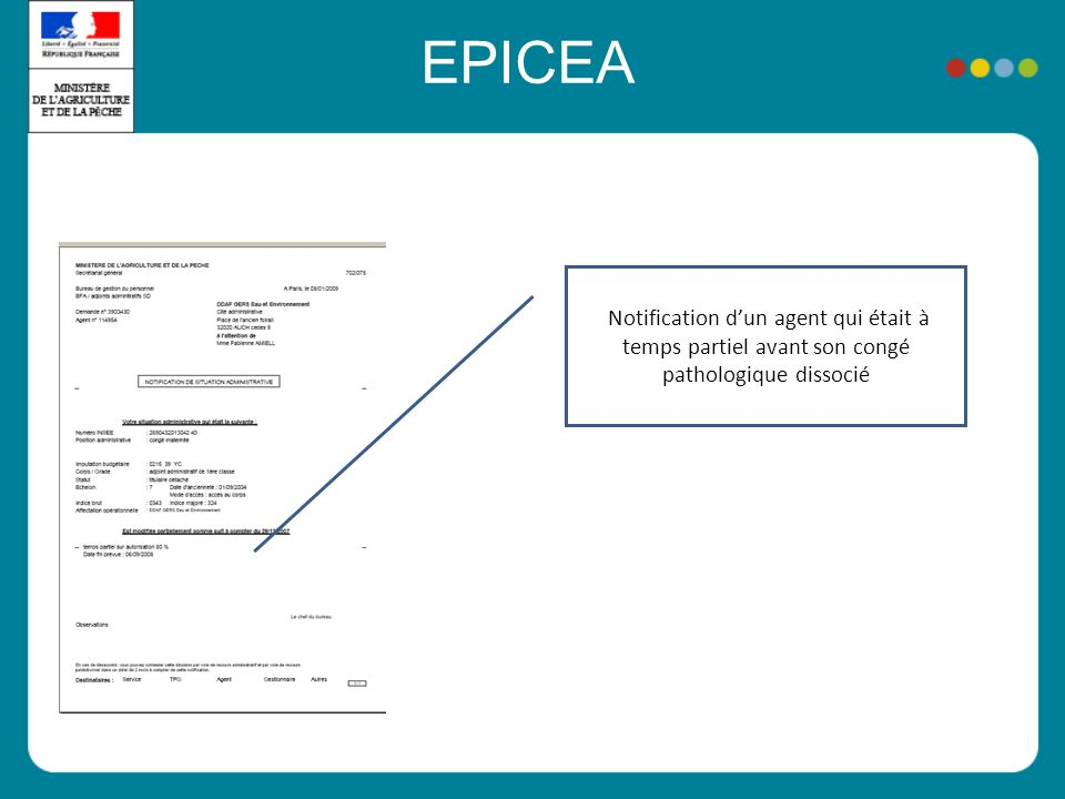 EPICEA Notification d'un agent qui était à temps partiel avant son congé pathologique dissocié