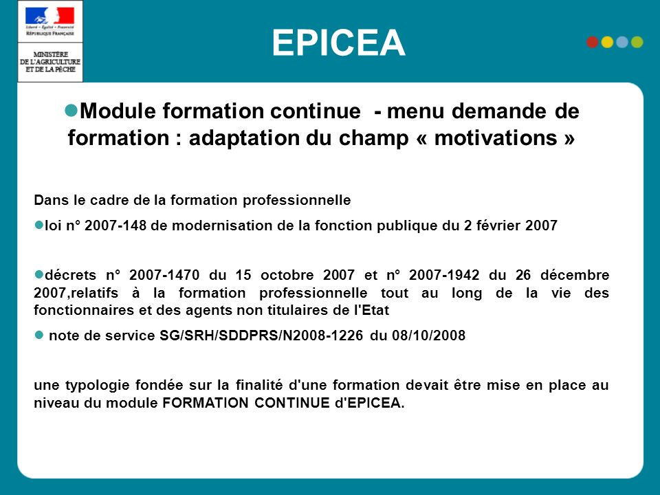 EPICEA Module formation continue - menu demande de formation : adaptation du champ « motivations »