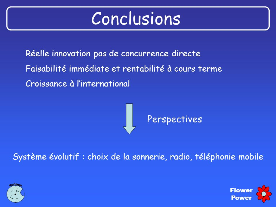 Conclusions Perspectives Réelle innovation pas de concurrence directe