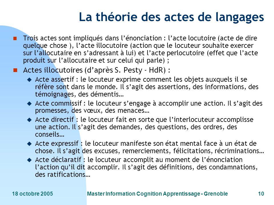 La théorie des actes de langages