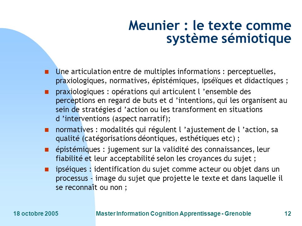 Meunier : le texte comme système sémiotique