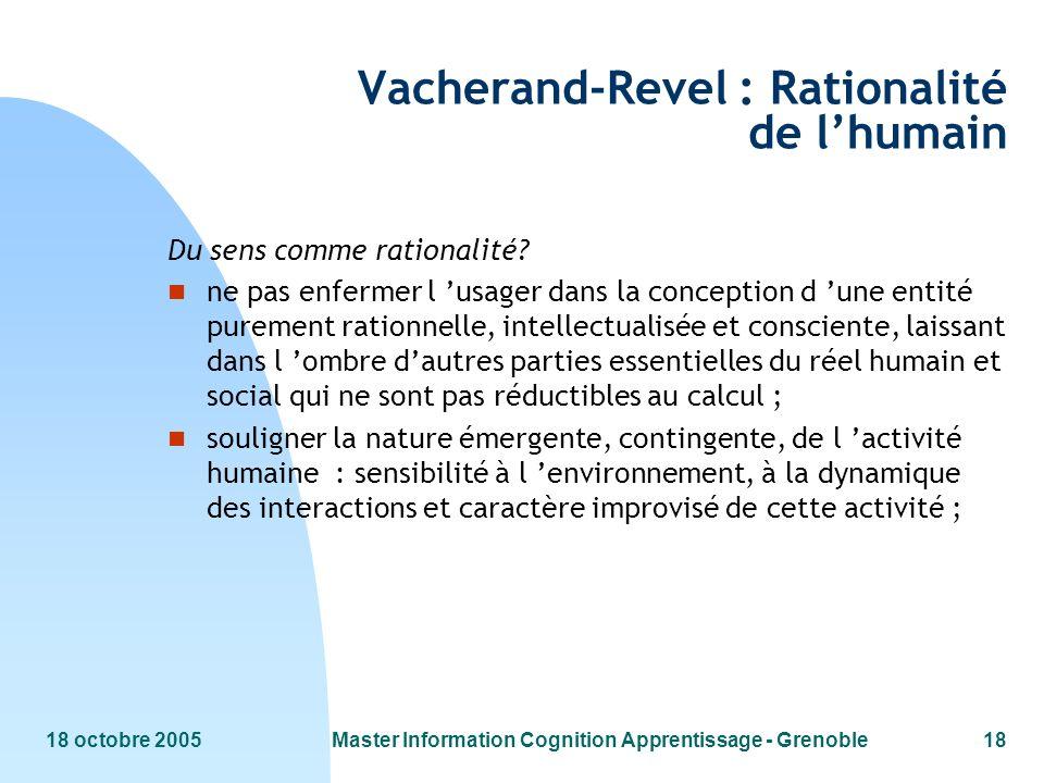 Vacherand-Revel : Rationalité de l'humain