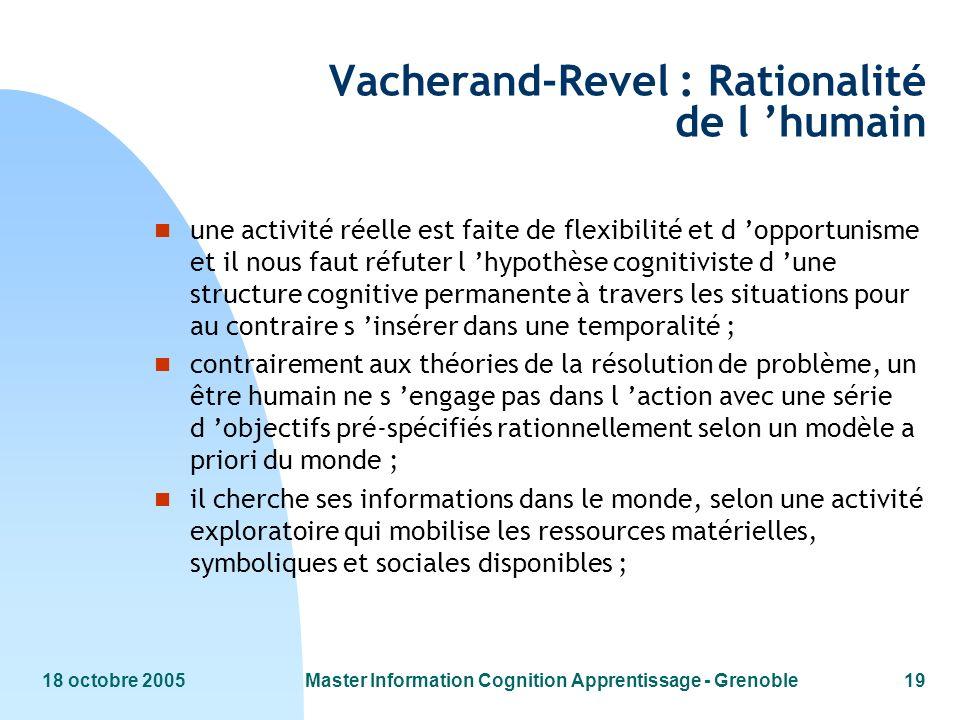 Vacherand-Revel : Rationalité de l 'humain
