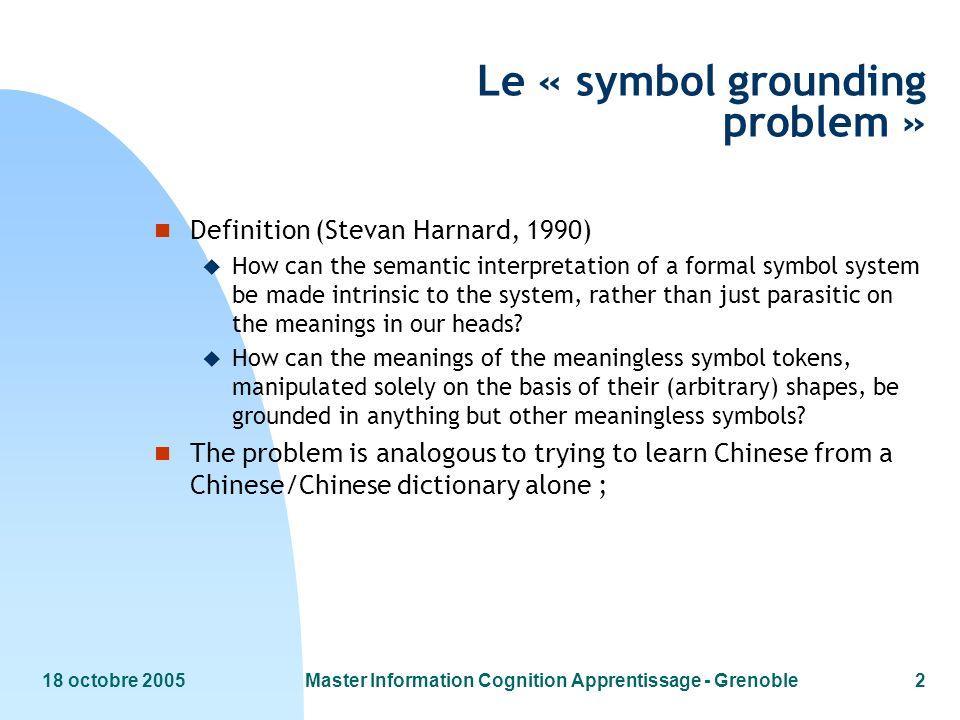 Le « symbol grounding problem »