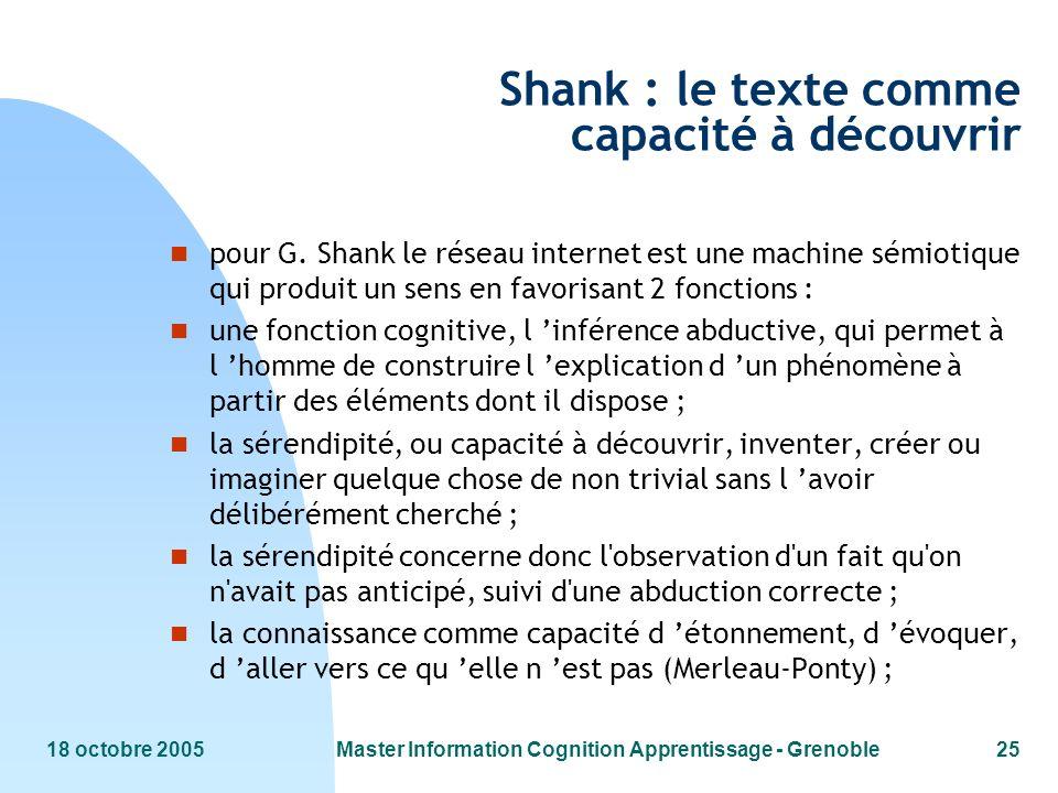 Shank : le texte comme capacité à découvrir