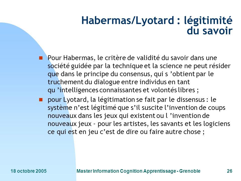 Habermas/Lyotard : légitimité du savoir