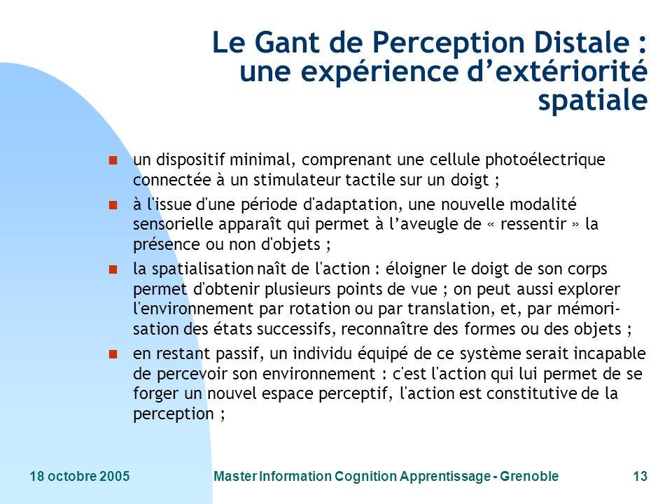 Le Gant de Perception Distale : une expérience d'extériorité spatiale