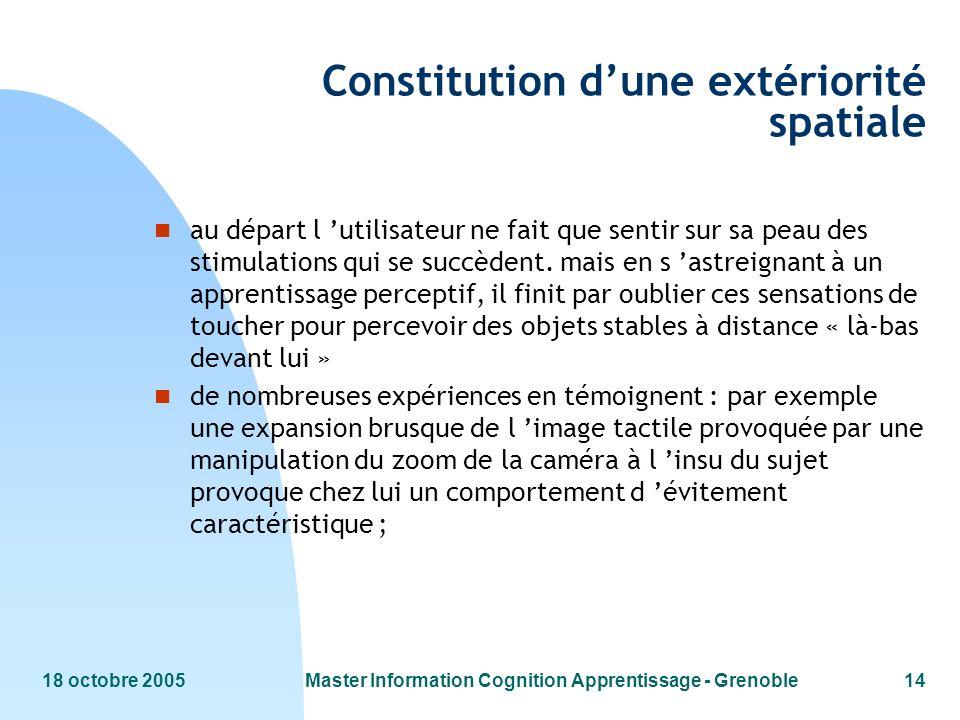 Constitution d'une extériorité spatiale