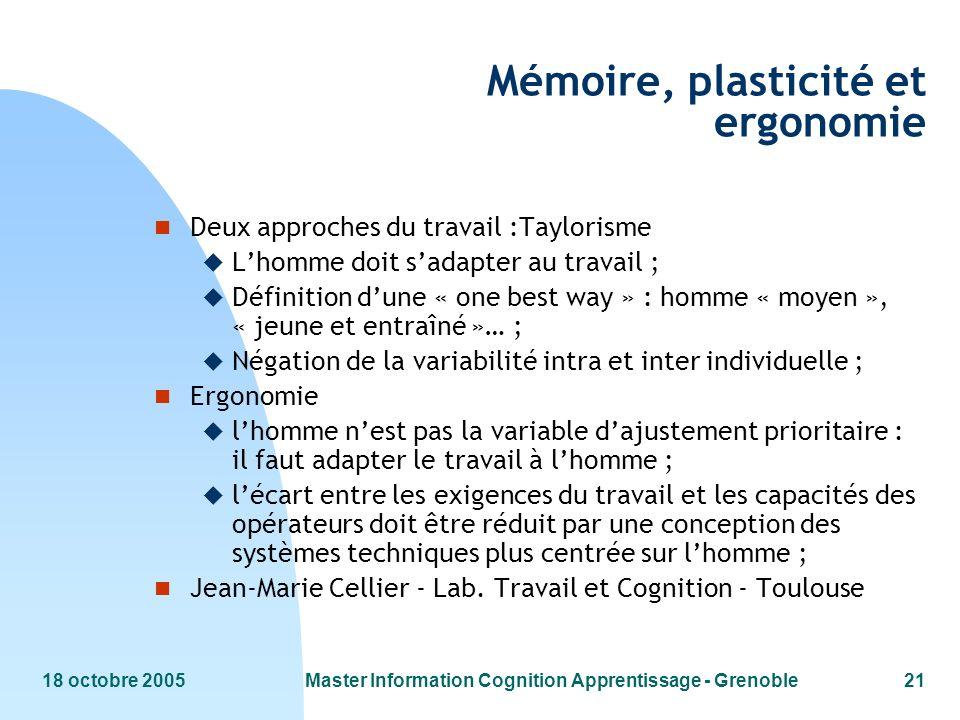Mémoire, plasticité et ergonomie