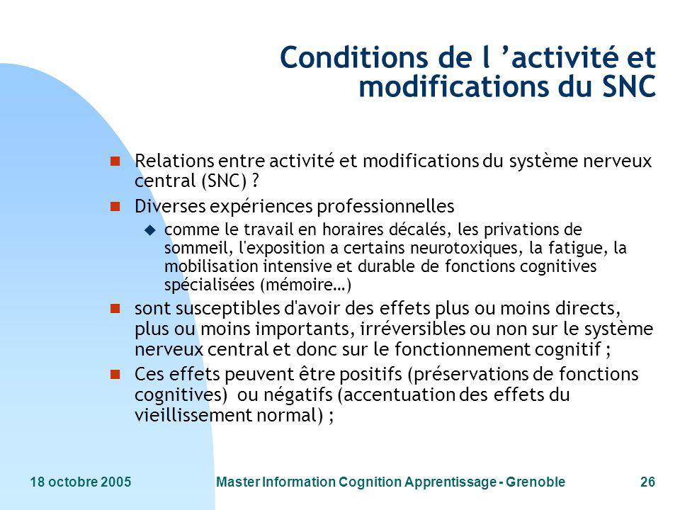 Conditions de l 'activité et modifications du SNC