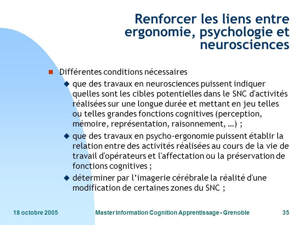 Renforcer les liens entre ergonomie, psychologie et neurosciences