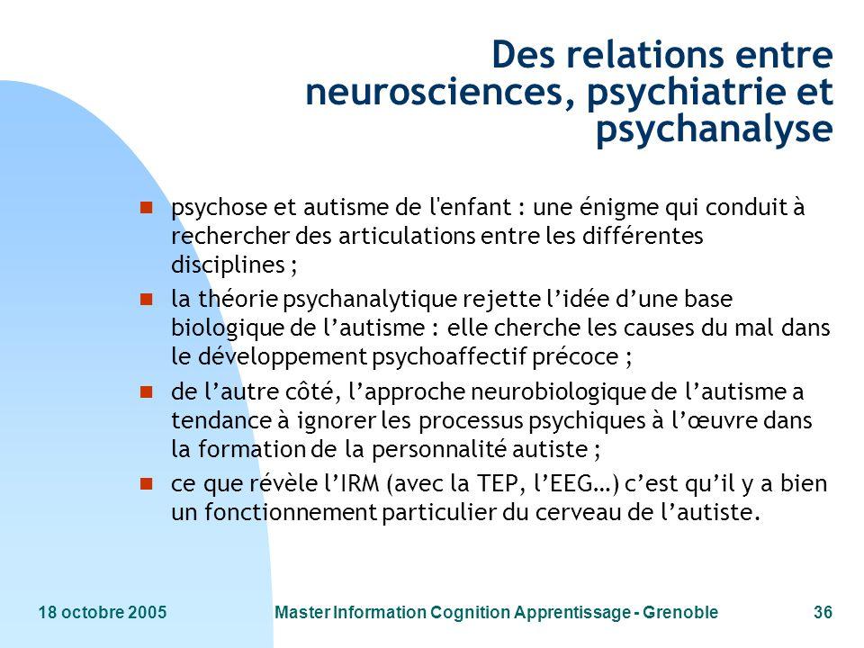 Des relations entre neurosciences, psychiatrie et psychanalyse