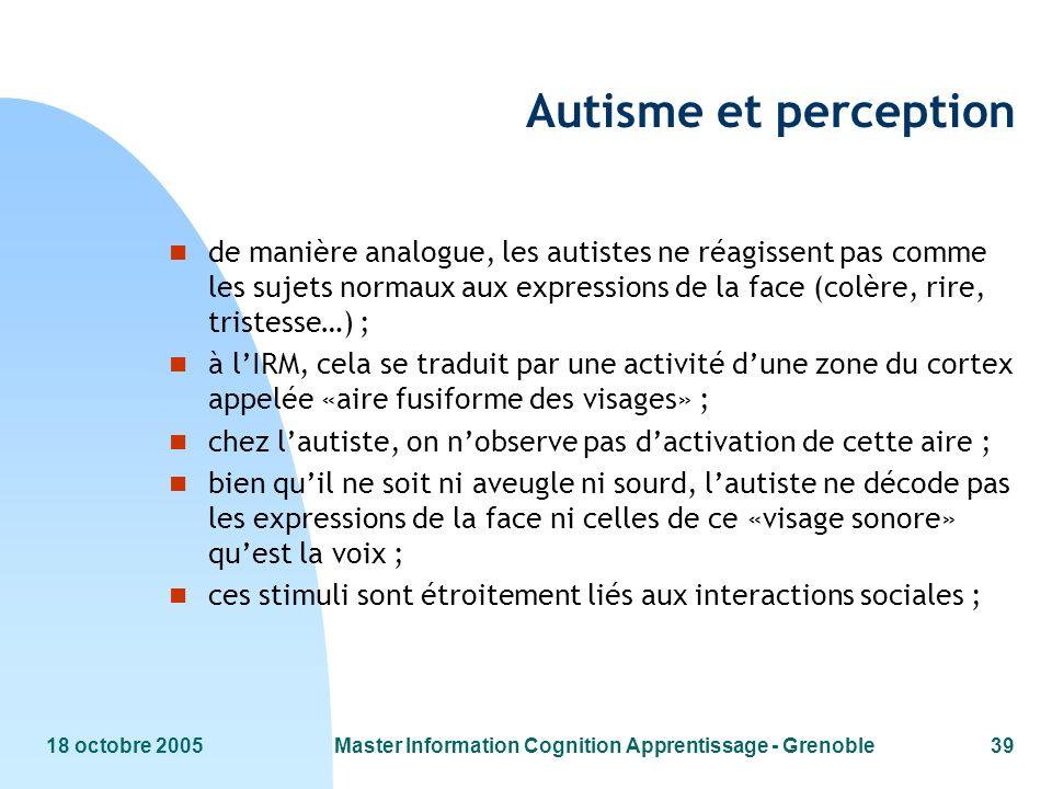 Master information cognition apprentissage grenoble for Neurone miroir autisme